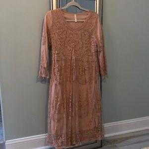 Blush pink lace midi dress